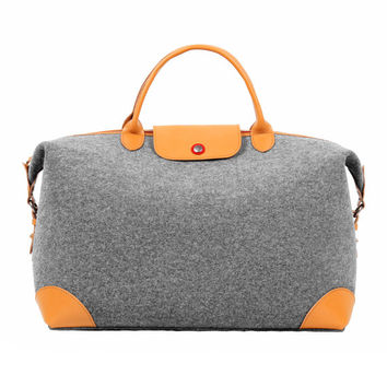 Weekend Bag Wool Felt Travelling Bag Storage Bag Handbag Shoulder Bag Wool Felt Tote School Bag