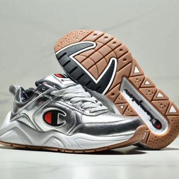 Champion tide brand men and women breathable sports running shoes Silver