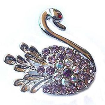 Platinum-Plated Swarovski Crystal Swan Design Brooch/Pin ( 1/2 inch x 1 1/2 inches) (Gift Boxed)