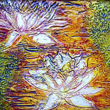 """Original Art, Textured Lotus/ Water Lilies Painting """"Born of Water For Fire"""""""