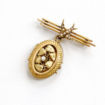 Antique 18k Gold Seed Pearl Bird Pin & Gold Filled Locket - Vintage Late 1800s Leaf Motif Picture Jewelry