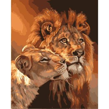 Frameless The Lion Familly Animals DIY Painting By Numbers Acrylic Wall Art Picture Hand Painted Oil Painting Unique Gift 40x50