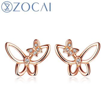 18KT Rose Gold 0.01 Ct Certified H / SI Real Diamond Stud Earrings