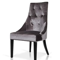 A&X Charlotte Grey Velour Dining Chair (set of 2)
