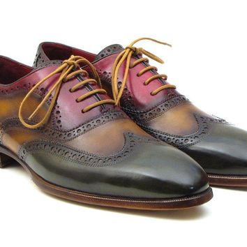 Paul Parkman Men's Three Tone Wingtip Oxfords Shoes (ID#PP22F75)