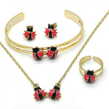 Gold Layered Earring and Pendant Children Set, Ladybug Design, Golden Tone