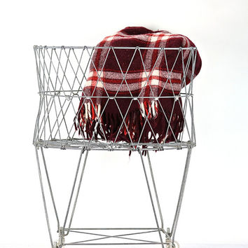 Vintage Wire Laundry Basket, Collapsible Wire Laundry Basket