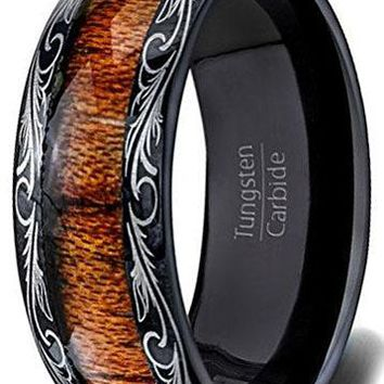 CERTIFIED 8mm Mens Wedding Band Black Tungsten Ring Wood Inlay Pattern Dome Comfort Fit