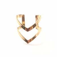 Gold Plated Double Chevron Ring