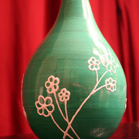 Turquoise bamboo vase - painted flowers can be filled with any color if desired, free!