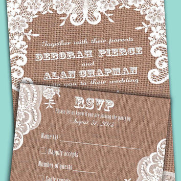Burlap lace romantic wedding invitation and RSVP card suite.