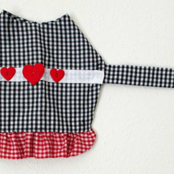 Gingham Small Dog's Dress Made to Order - Black & White with Red and White Ruffle, Ribbon and Heart Trim Pomeranian