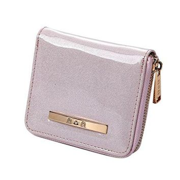 Womens Small Compact Leather Wallet Ladies Soft Glitter Coin Purse