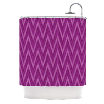 "Amanda Lane ""Plum Purple Chevron"" Lavender Fuschia Shower Curtain"