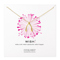 Dogeared Big Wishbone Necklace, Gold 18 inch