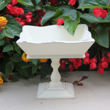 Shabby cottage chic pedestal bowl, wood hand-painted in Annie Sloan Old White chalk paint with distressed look
