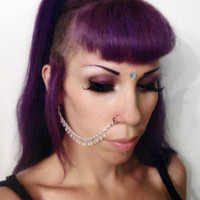 Light Pink and Silver Drop Beaded Nose Chain