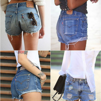 LEVI'S Shorts Denim Cutoff Tattered Blue 1970s Distressed Highwaist High Cut Jean Shorts