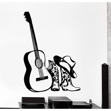 Wall Vinyl Decal Cowboy Hat Boots Guitar Country Music Home Interior Decor Unique Gift z4196