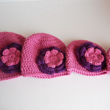 Crochet baby hat, baby girl hat, beanie, berry pink hat, grey hat, pink and purple flower. Listing for one hat, size of your choice