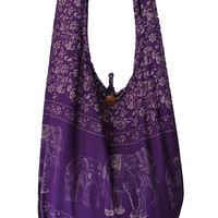 purple elephant Bag,shoulder Bag,cotton Bag,thai Bag, messenger Bag,diaper Bag,handbags,hippie Hobo Bag,tote Bag, boho cotton,yaamstore