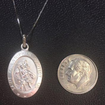 """14K White Gold Layer On Solid Silver Saint Christopher Pendant Free Chain18"""""""