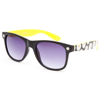 Full Tilt Daisy Arm Wayfarer Sunglasses Black One Size For Women 25385810001