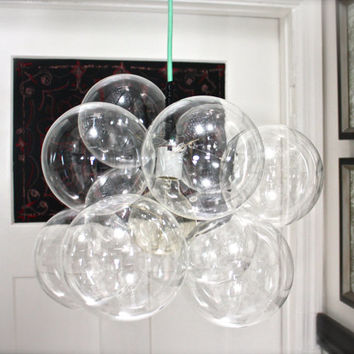 Glass Bubble Chandelier  Mint & Leather by TheLightFactory on Etsy