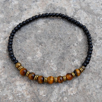 Ebony and tiger's eye gemstone mala bracelet with African trade beads