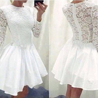 Lace Long-Sleeve Zip-Back Dress