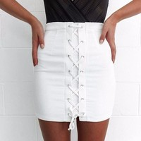 Women Skirts Summer Mini Lace Black White Pencil Bandage High Waiste Bodycon Skirt Sexy Women Stretch Tight Bodycon Tube Bandage