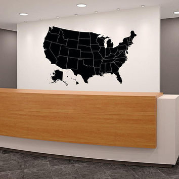Large USA Map Wall Decal, USA Map Decal with Location Markers, US Map Vinyl Decal with States, Geography Decor Large Map Wall Art K224