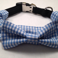 Dog Bow Tie - Blue Gingham