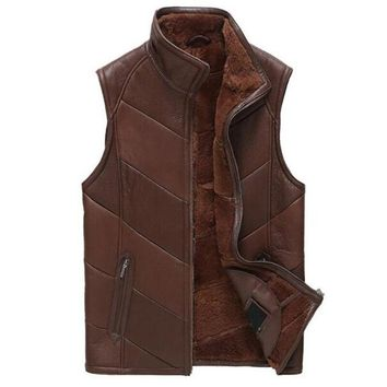 Sheepskin Leather Vest Men Shearling Coat Genuine Leather Slim Outerwear Men Short Motorcycle Jacket Flight Casual Vest TJ44