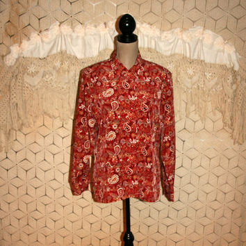Red Paisley Blouse Red Print Shirt Bohemian Tops Long Sleeve Button Up Hippie Clothing Bohemian Clothing Plus Size Large XL Womens Clothing