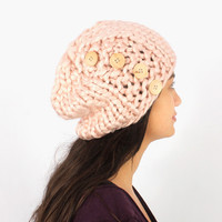 Hat Hand Made Button Knit Beanie Hat from F.E.W.S Fashion