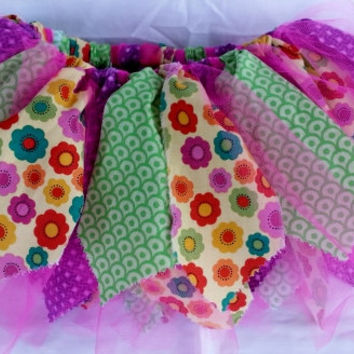 Shabby Chic Tutu ~ Scrappy Fabric Tutu  ~ Fabric tutu ~ Toddler tutu ~ Tutu Skirt ~ 1 year old Tutu ~ 2 Year old Tutu ~ Pink Green Purple ~