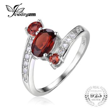 JewelryPalace 925 Sterling Silver 1.2ct Natural Red Garnet 3 Stone Anniversary Ring Fine Jewelry for Women 2016 New Brand