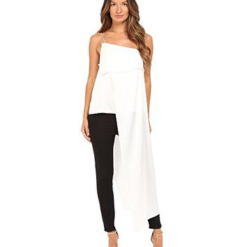 Zac Posen Charmeuse Asymmetrical Drape Sleeveless Top