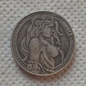 Hobo Nickel Coin_Type #46_1938-D Sexy Lady