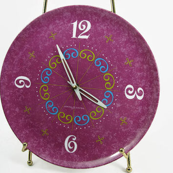 GE Purple Wall Clock Melmac Plate Working General Electric Model 2161 Raspberry Lime Blue