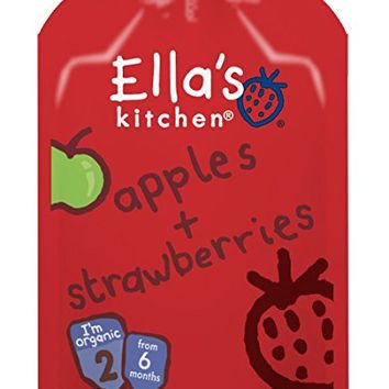 Ella's Kitchen Organic Stage 2, Apples + Strawberries, 3.5 Ounce