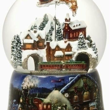 Village Snow Globe - A Quaint Victorian Scene Is Depicted On The Base Of The Globe