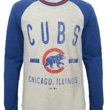 Youth Chicago Cubs Royal Majestic L/S Our Home Raglan T Shirt