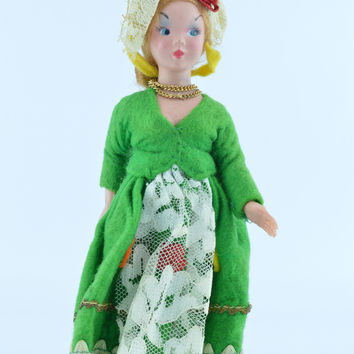 1930's Lenci Torino Doll Green & White Lace Rome Italy