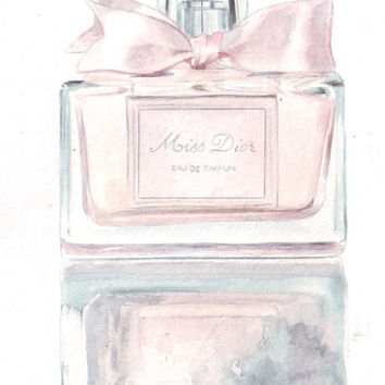 Original watercolor fashion illustration Miss Dior Perfume Bottle art
