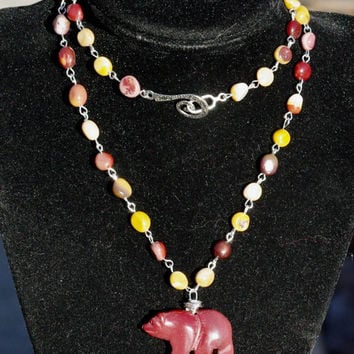 Mookaite Jasper Bear Necklace ~ Freeform Mookaite Jasper ~ Stone Bear Pendant ~ Hand Wired Jewellery ~ Earth Colours