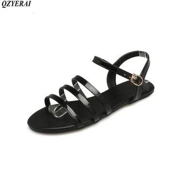 QZYERAI New to summer summer sexy women's flat sandals women's shoes roman-style sandals black size 34-43