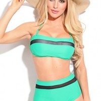 Candy Crush High Waist Bikini- This two piece swimsuit features a removable halter