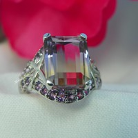 Emerald Cut Ametrine Halo Engagemet Ring, Amethyst Halo Ametrine Ring